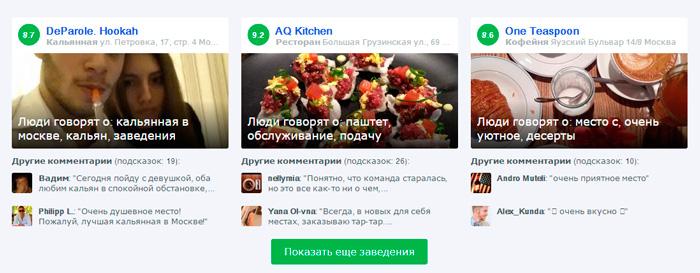 Несколько самых упоминаемых в Foursquare заведений Москвы