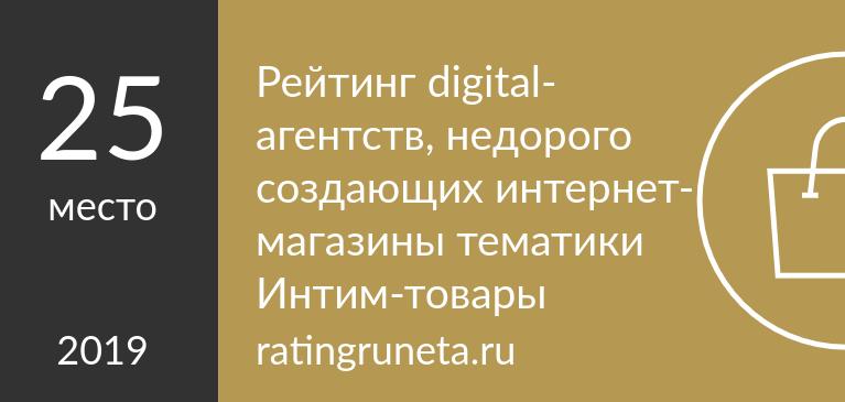 Рейтинг digital-агентств, недорого создающих интернет-магазины тематики Интим-товары