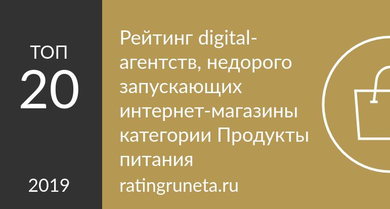 Рейтинг digital-агентств, недорого запускающих интернет-магазины категории Продукты питания