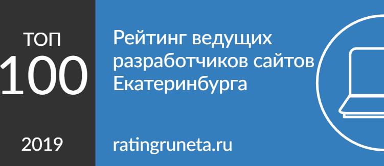 Рейтинг разработчиков Екатеринбурга